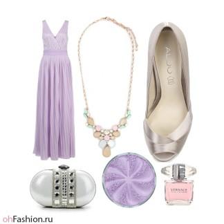 Вечерний лук. Платье макси и туфли с открытым носком