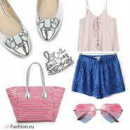 пляжный лук,серебряные балетки синие шорты