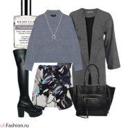 Повседневный лук. Юбка с цветочным принтом, свитер и серое пальто