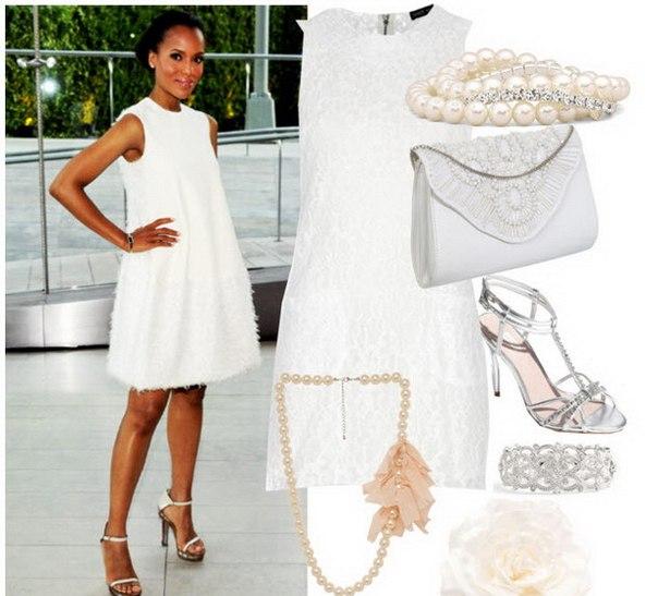 Белое платье и аксессуары к нему