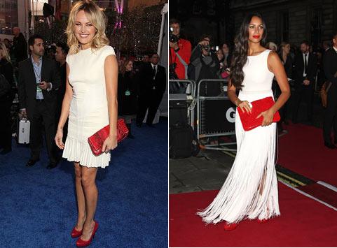 Белое платье и яркий клатч