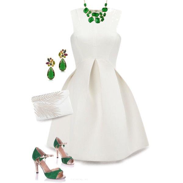 Белое платье и зеленые аксессуары