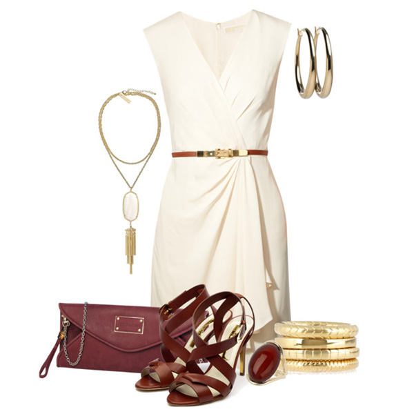 Белое платье и золотые аксессуары