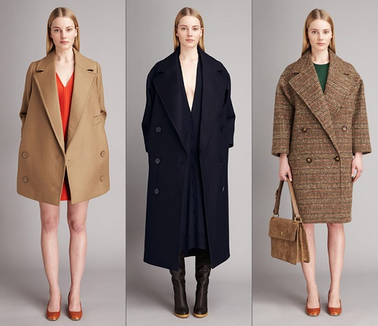 Девушка в трех разных по длине пальто оверсайз