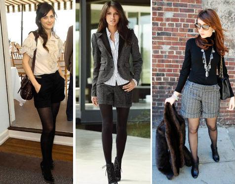 Девушки в классических темных шортах
