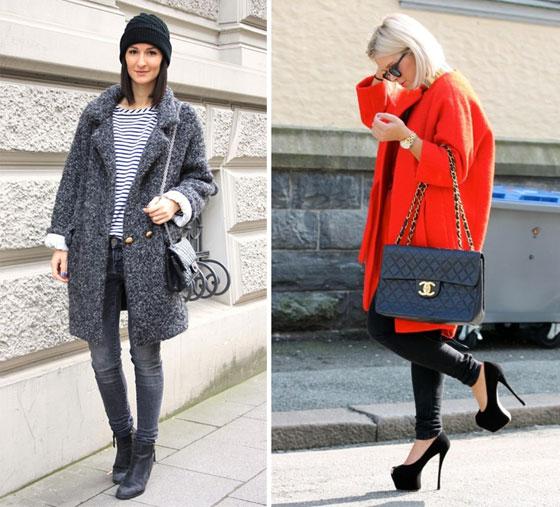 Девушки в разных по цветовой гамме пальто, ярком и сером