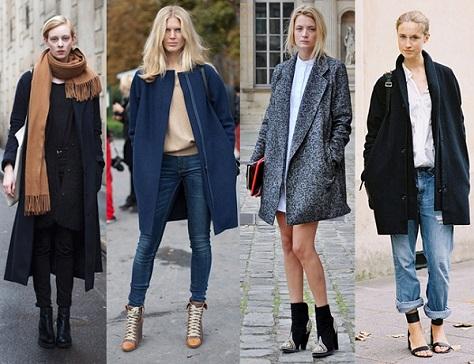 Девушки в самых разных моделях пальто оверсайз