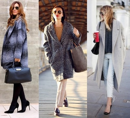 Девушки в трех разных серых пальто оверсайз и туфлях