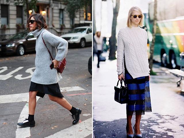 Девушки в юбках средней длины и свитерах оверсайз