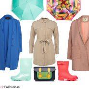 Лук для дождливой погоды. Платье легкое пальто резиновые сапоги зонт