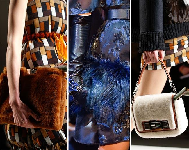 Меховые сумки разных насыщенных и теплых тонов - тенденции сумок осень/зима 2015-2016