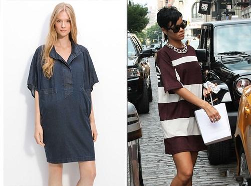 Модель и Рианна в платьях оверсайз