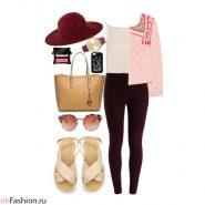 Повседневный лук. Бордовые джинсы топ розовый жакет шляпа сандалии