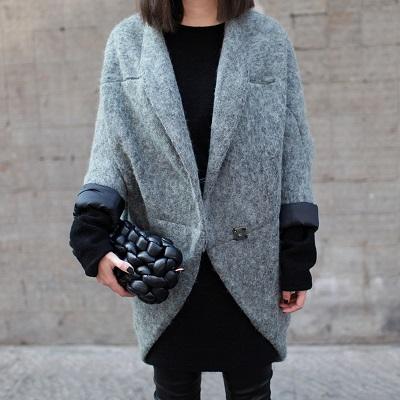 Пример пальто оверсайз на одной пуговице