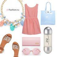 летний лук, розовое платье лаковая сумка сабо