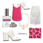 молодежный лук, серебряная юбка прозрачные сабо