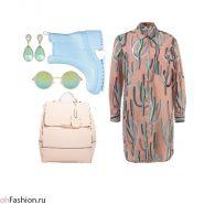 Весенний лук. Платье-рубашка и резиновые сапоги
