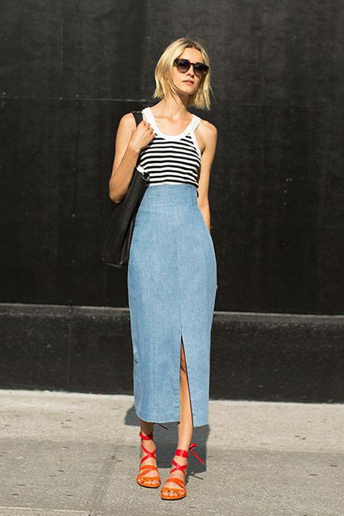 Луки длинная джинсовая
