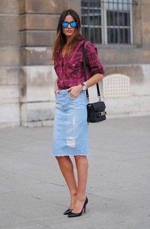 Сеты с джинсовой юбкой