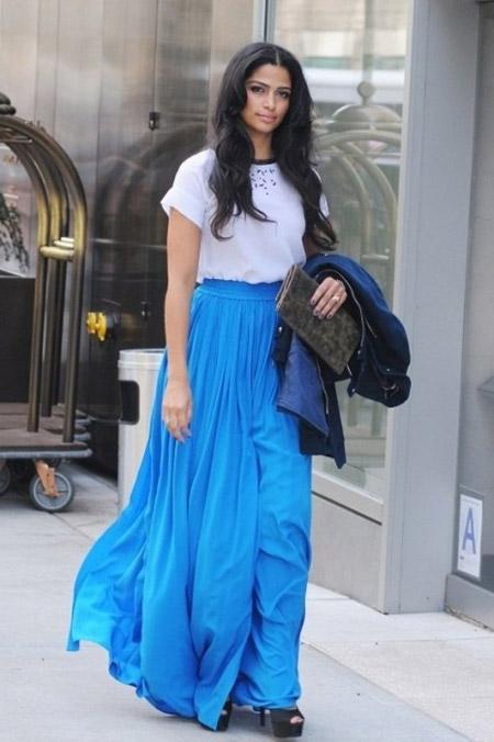 Платья длинная синяя юбка