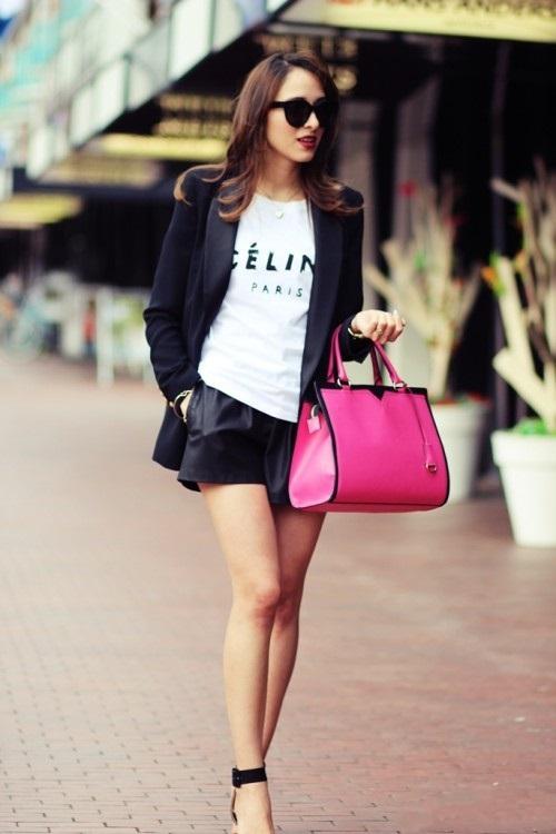 Уличная классика или история о том, что черная юбка-шорты отлично смотрится с пиджаком и топом с брендовой надписью