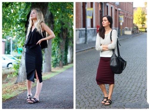 Девушки в длинных юбках и темных биркенштоках