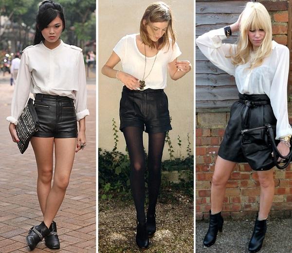 Девушки в кожаных шортах и белых блузках