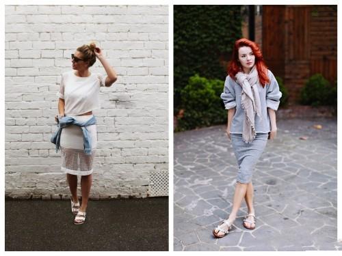 Девушки в юбках и светлых биркенштоках