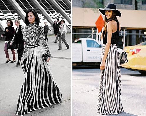 Девушки в юбках в черно-белую полоску