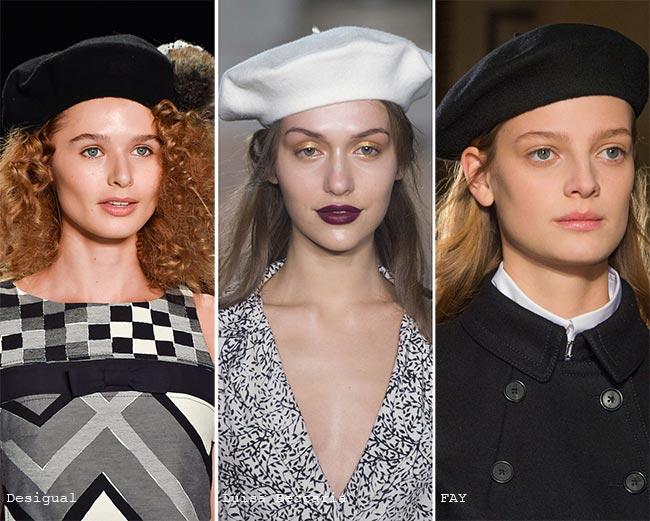 Французские темные береты - модные головные уборы осень/зима 2015-2016