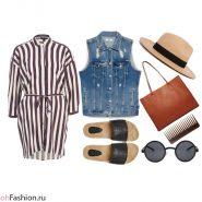 Летний лук. Платье в полоску, джинсовый жилет, сандалии, шляпа, очки