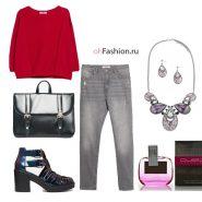 Молодежный лук, серые джинсы, розовый свитшот, портфель гладиаторы