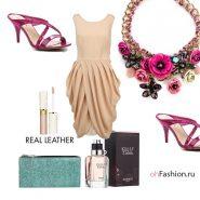 Нарядный образ, бежевое платье, розовые сабо колье, зеленый кошелек