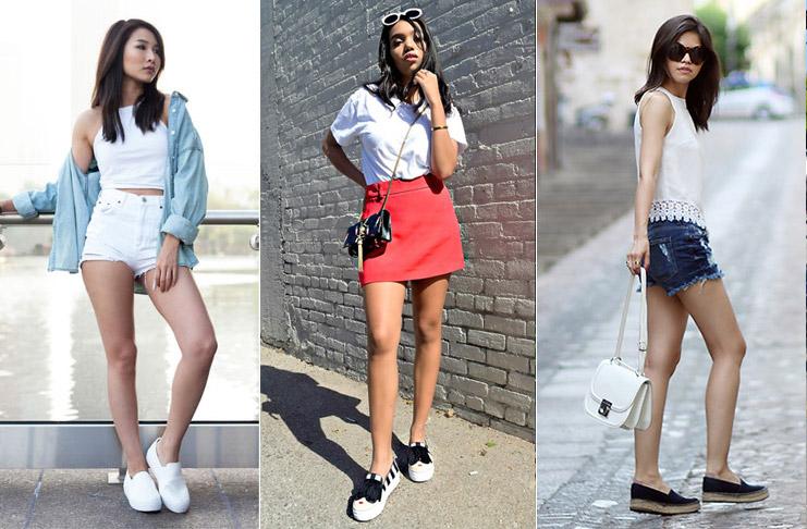 Девушки в шортах и слипонах на платформе