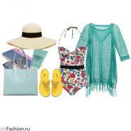 Пляжный образ. Купальник, туника, соломенная шляпа, желтые сандалии