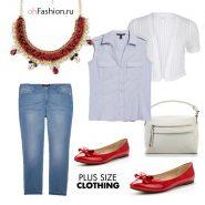 Повседневный образ, джинсы, блуза голубая джинсы красные балетки кардиган большой размер