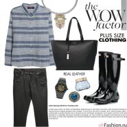 Повседневный образ. Черные брюки, рубашка, резиновые сапоги, черная сумка