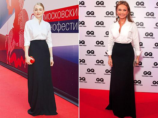 Русские селебрити в белых блузках и черных юбках