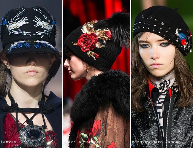 Шляпки с блестящим декором - модные головные уборы осень/зима 2015-2016