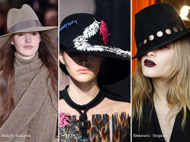 Шляпы с полями - модные головные уборы осень/зима 2015-2016