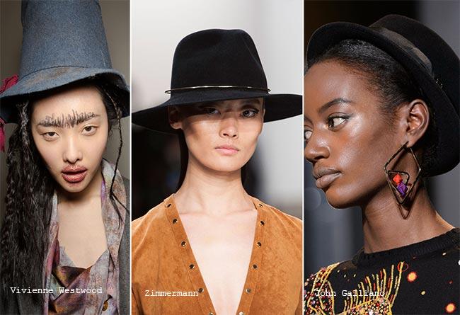 Темные шляпы с полями - модные головные уборы осень/зима 2015-2016