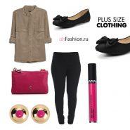 Яркий образ джеггинсы блуза рубашка коричневая балетки большой размер