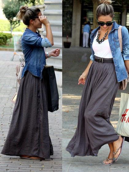 девушка в серой юбке и джинсовой рубашке