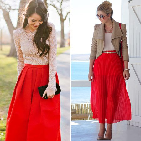 девушки в красных юбках со светлым верхом