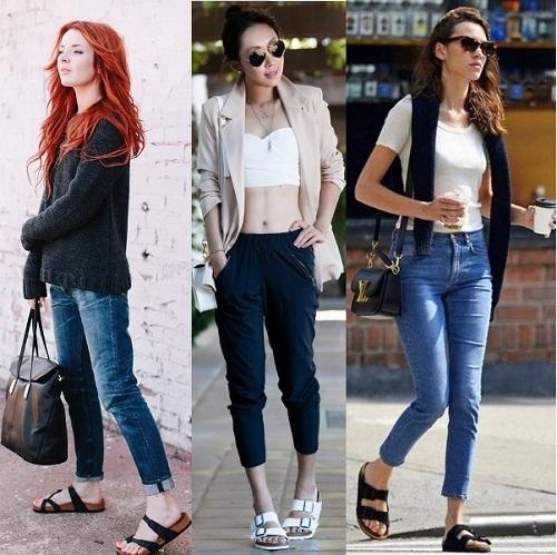 девушки в укороченных джинсах и брюках
