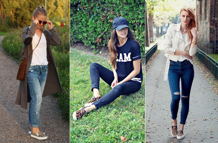 Девушки в джинсах и леопардовых слипонах