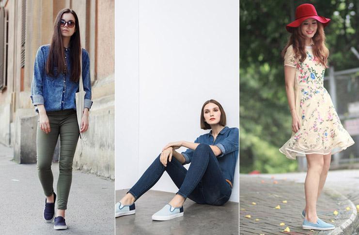 Девушки в джинсовых слипонах