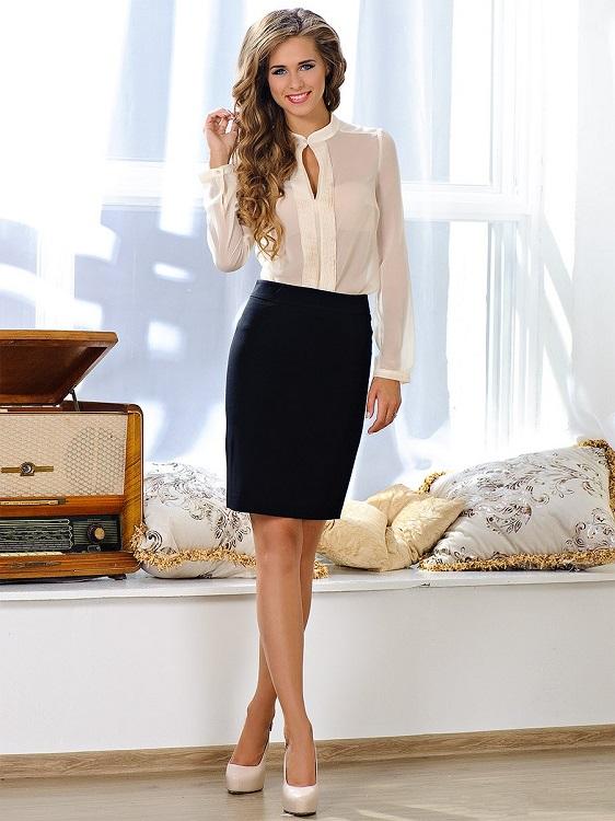 Черная юбка белая блузка