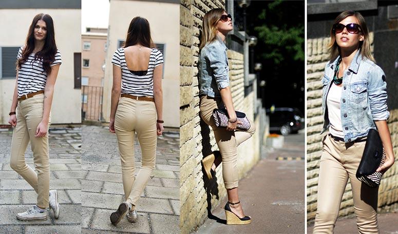 Девушки в бежевых брюках