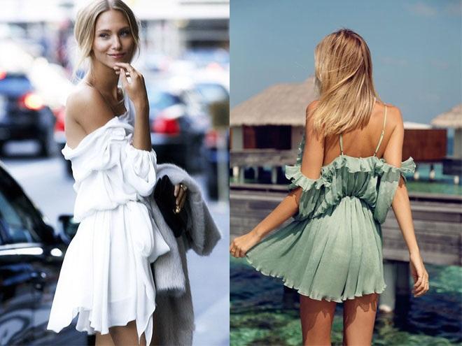 Девушки в платьях с открытыми плечами